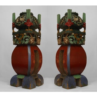 Pair of Asian Chinese Style Square Multicolored Painted and Carved Garden Seat Newell Posts