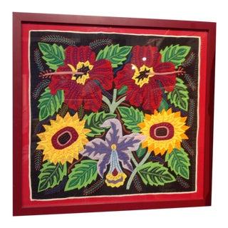 Vintage Mola Floral Textile Art, Framed For Sale