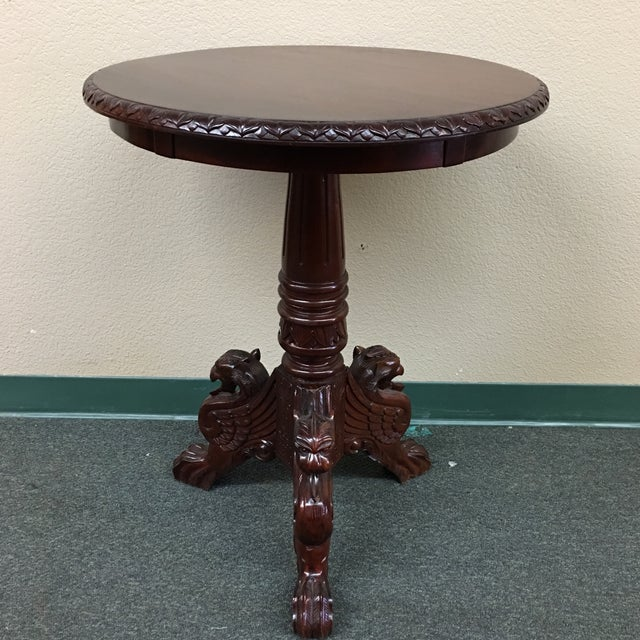 Vintage Carved Mahogany Side Table - Image 2 of 7