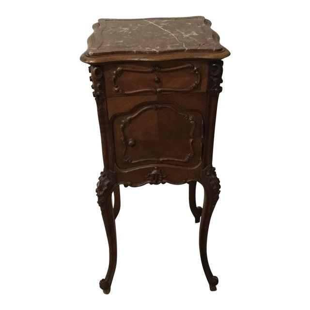 Antique French Country Marble Top Nightstand For Sale