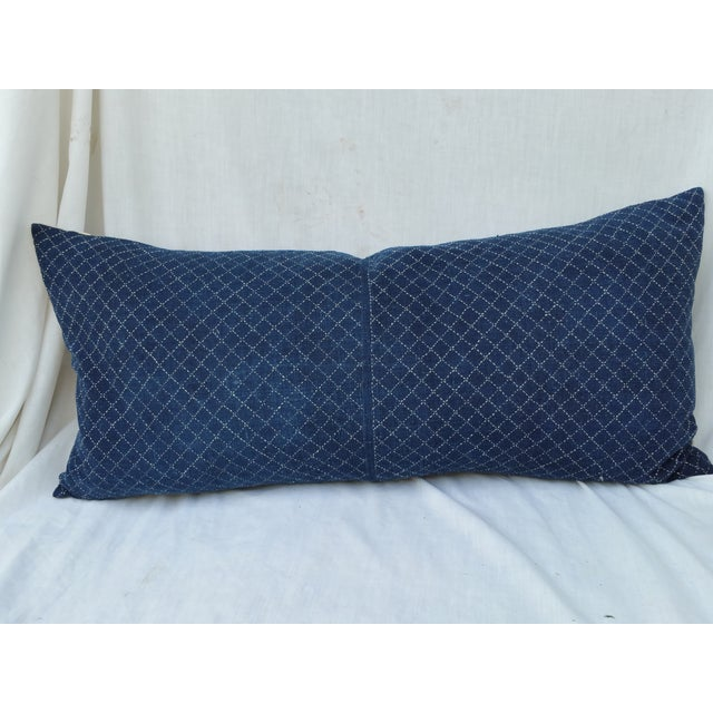 Vintage hand spun/woven indigo dyed pillow. Hand decorated with white stitching. Formally a Dong hill tribe baby carrier....