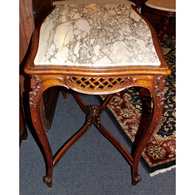 Marble French Louis XV Style Marble-Top Library Table For Sale - Image 7 of 8