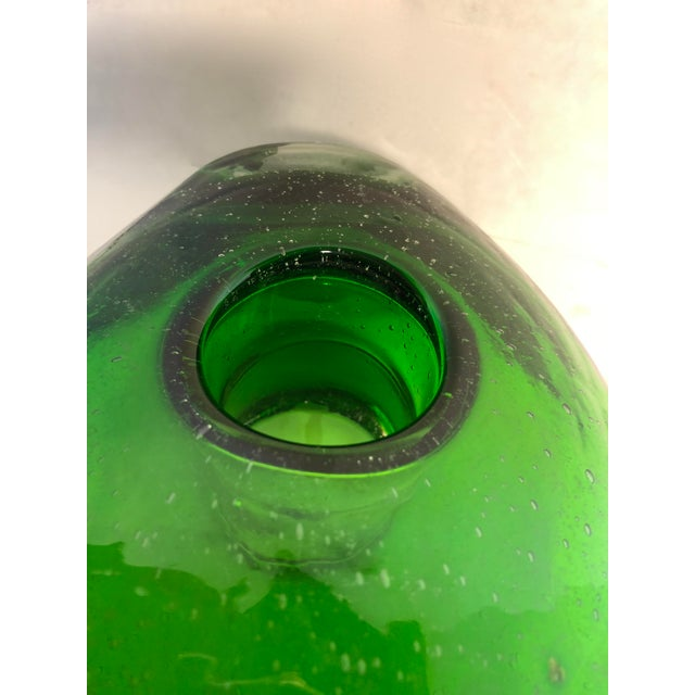 2000s Modern Hand-Blown Green Glass Vase For Sale - Image 5 of 8