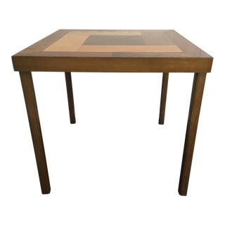 Unique Mid-Century Wood Inlay Card Table For Sale