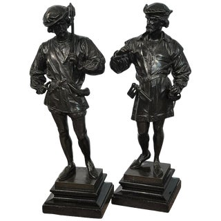 Pair of Orientalist Bronzes of Standing Turks, Signed Guillot For Sale