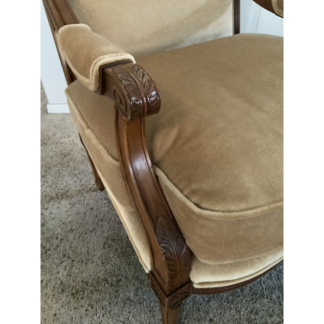 Wood Baker Gold Mohair Accent Bergere Chair For Sale - Image 7 of 10