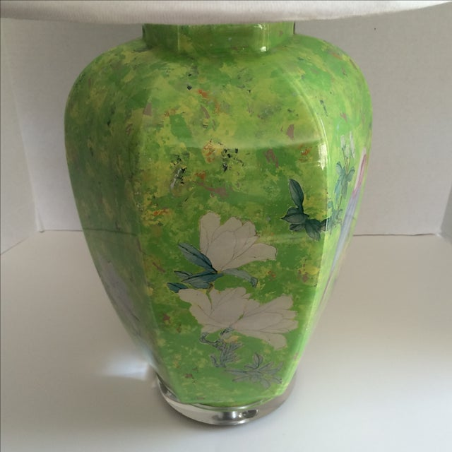 1980s Reverse Painted Decoupage Lamp On Lucite Base For Sale - Image 5 of 9