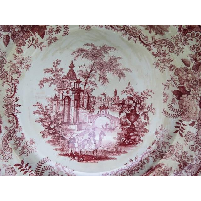 Ceramic 1830s F. Dillon China Red & White Transfer Plate For Sale - Image 7 of 10