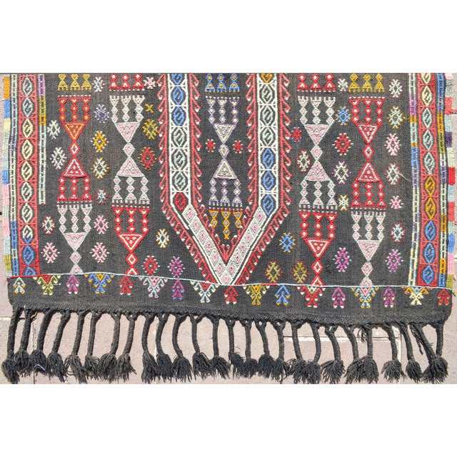 "1950s Handwoven Turkish Kilim Area Rug Colorful Petite Braided Kilim Wall Decor- 3'5"" X 4'9"" For Sale - Image 5 of 8"