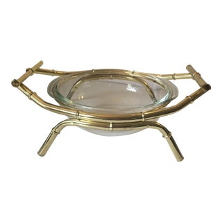 Brass Bamboo-Style Serving Dish For Sale