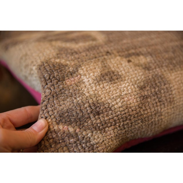 Textile Reclaimed Vintage Turkish Rug Fragment Lumbar Pillow For Sale - Image 7 of 8