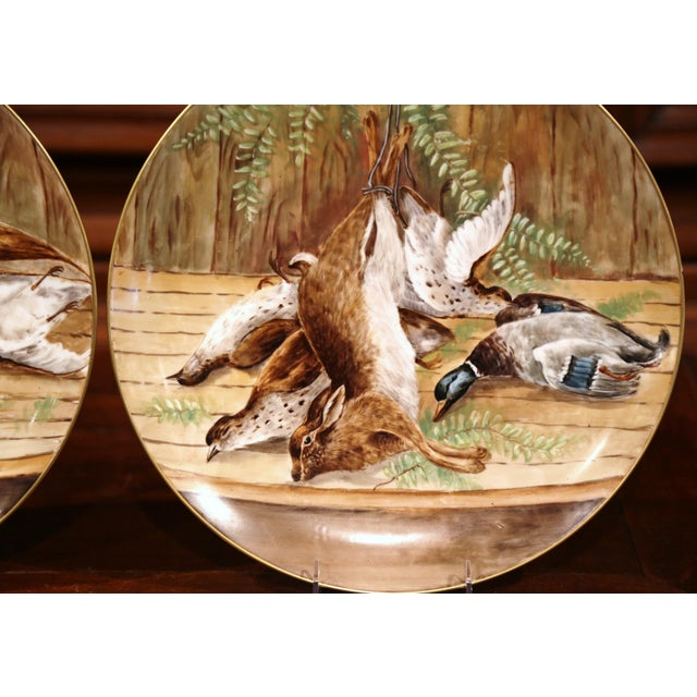 19th Century French Hand-Painted Porcelain Hunting Scenes Wall Platters - a Pair For Sale - Image 10 of 11