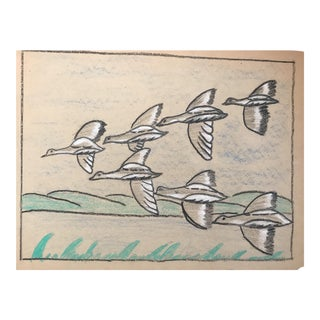 1940s Mid-Century Flying Ducks by Evelyn Underwood For Sale