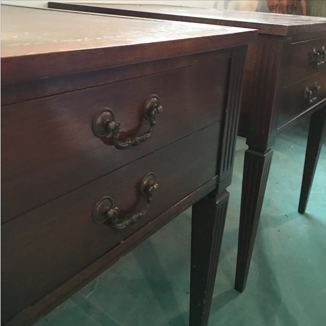 """Leather Top """"Neptune"""" Matching Side Tables - 2 - Image 5 of 5"""
