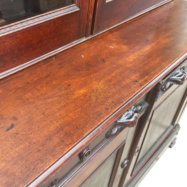 Antique English Victorian Mahogany Secretaire Bookcase Secretary Desk - Image 6 of 11