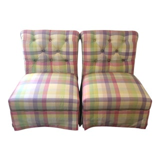 Silk Taffeta Slipper Chairs- A Pair For Sale