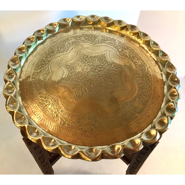 20th Century Campaign Carved Wood and Brass Tray Top Table For Sale - Image 4 of 9