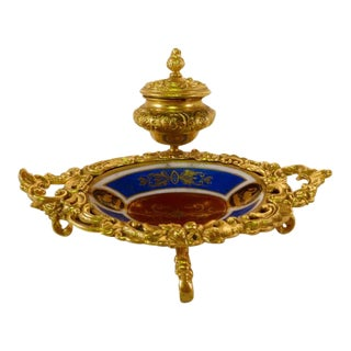 French Gilt Porcelain Desk Set