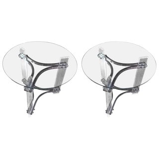 Mid-Century Modern Lucite, Chrome, and Glass Side Tables - a Pair For Sale