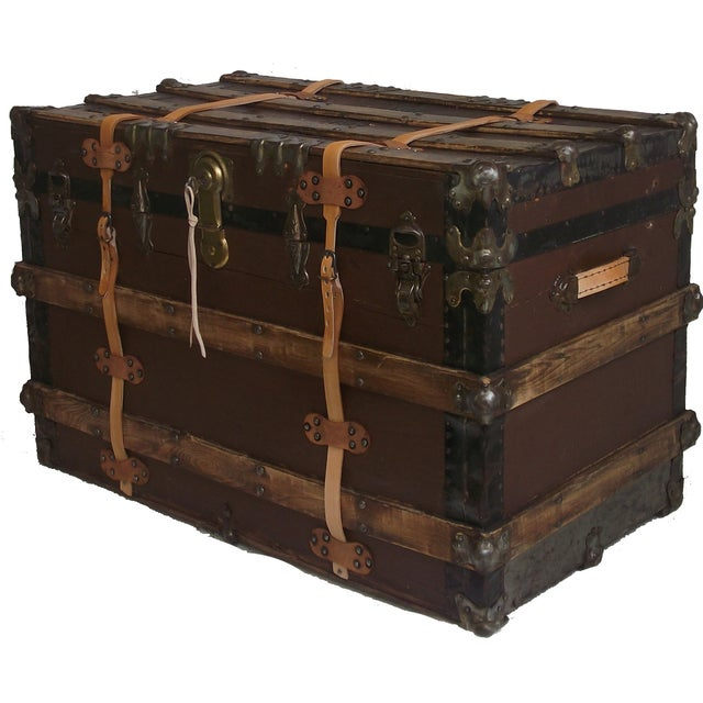 Antique Wood & Leather Trunk - Image 2 of 3