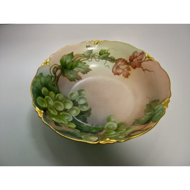 Gorgeous antique hand painted, signed by artist, V.A. Bartlett lush grape Bavarian H&C w/Crown gilded edged bowl with a...
