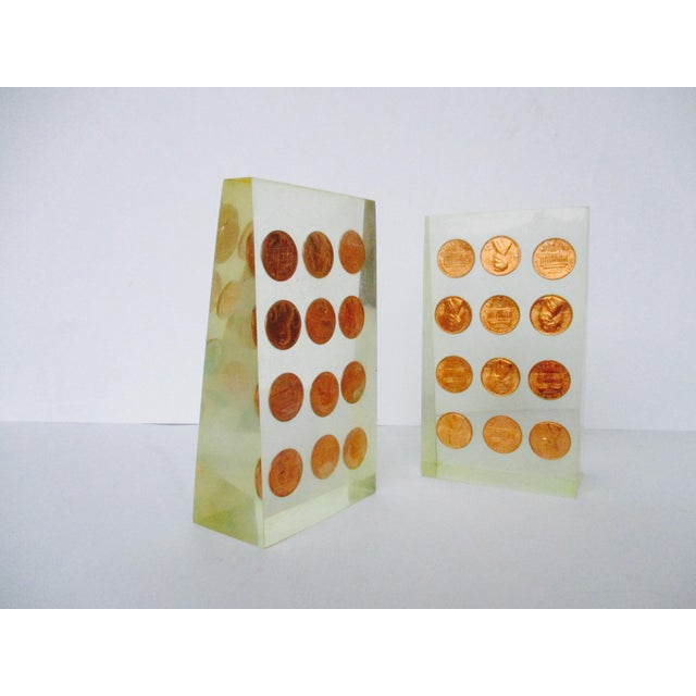 1972 Lucite Penny Bookends - A Pair - Image 2 of 8