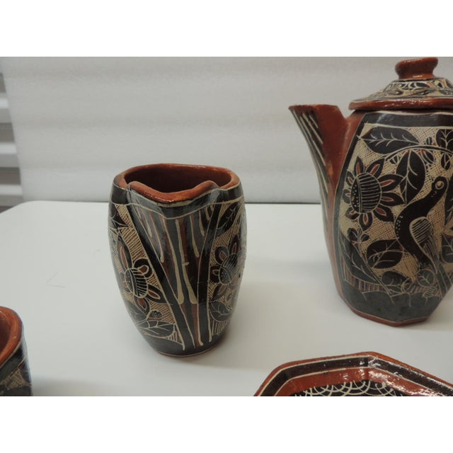 Vintage Brown and Orange Talavera Mexican Terracotta Artisanal Coffee Set For Sale - Image 4 of 7