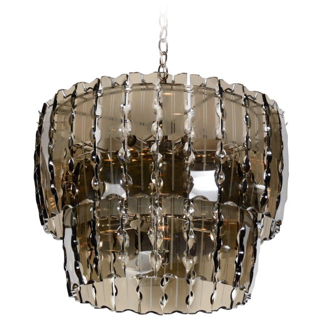 Fontana Arte Smoked Glass Chandelier For Sale
