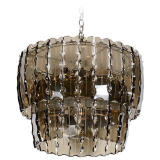 Smoked Glass Chandelier by Fontana Arte For Sale