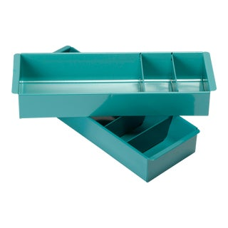 Steel Tanker Drawer Inserts Repurposed as Organizers, Refinished in Two-Tone Teal - a Pair For Sale