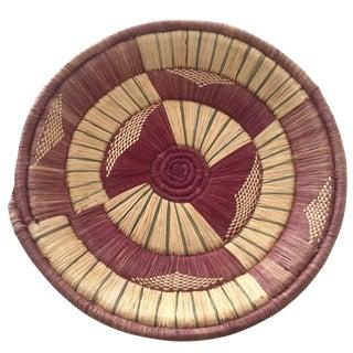 Vintage African Zulu Round Purple Basket