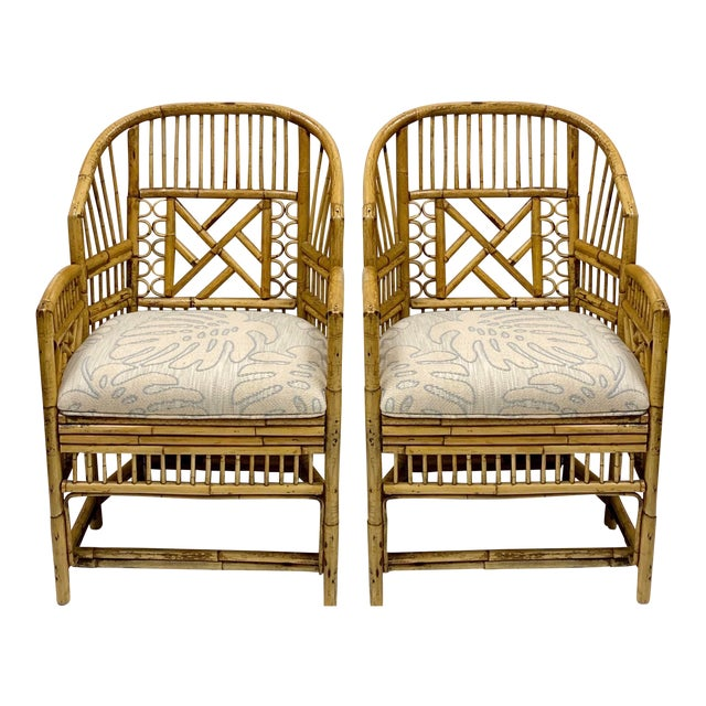 Pair of Chinese Chippendale Style Brighton Bamboo Chairs For Sale