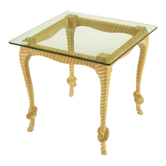 Carved & Limed Wood Knotted Rope End Table For Sale