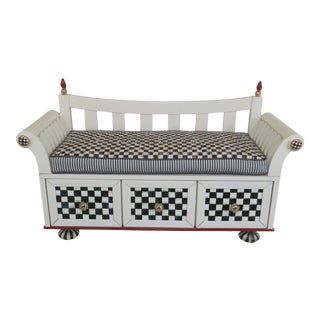 Mackenzie Childs Paint Decorated Whimsical Bench For Sale