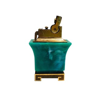 1950s Old Hollywood Faux Malachite Tabletop Lighter For Sale