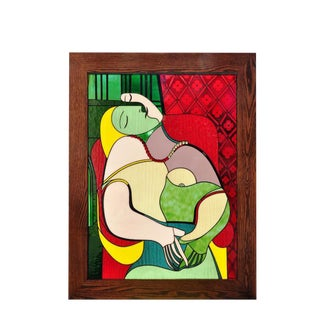 Stained Glass Window Depicting Pablo Picasso's Painting Le Rêve (The Dream)