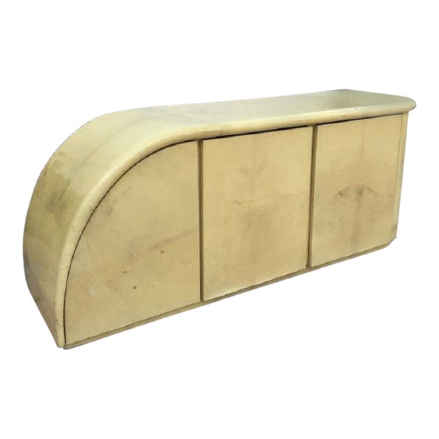 Mid Century Karl Springer Goatskin Asymmetrical Credenza For Sale