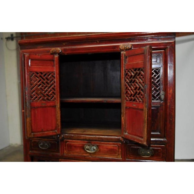 Chinese Lacquered Lattice Door Kitchen Cabinet