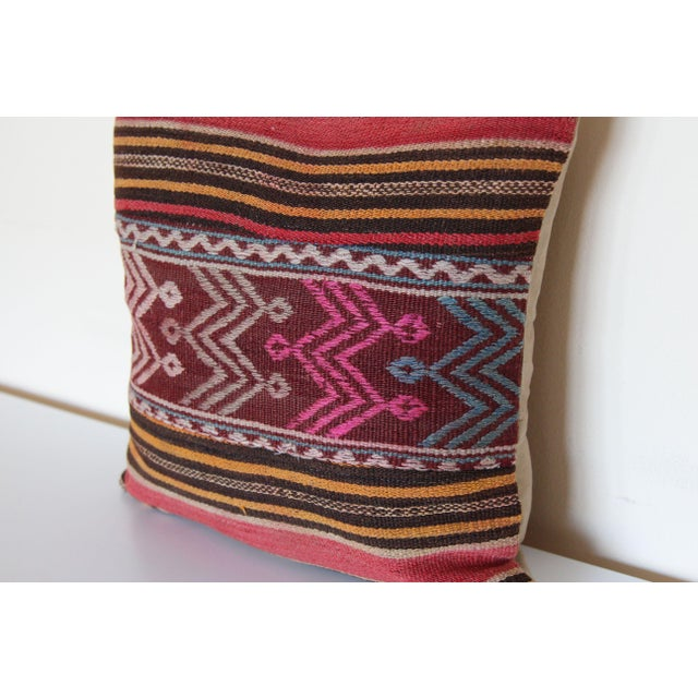 "This vintage kilim pillow cover is 16"" x 16""and hand-woven along the Mediterranean coastal region of Turkey. This handmade..."