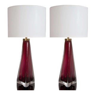 Pair of Orrefors Crystal Lamps For Sale