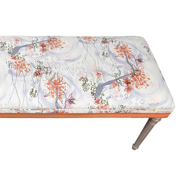 Vintage Louis XVI Bench in Ferrick Mason's Victorian Mod - Violet Coral Fabric For Sale - Image 4 of 5