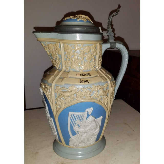 Ceramic Mettlach Villeroy & Boch Large Lidded Decorative and Embossed Stein C. 1899 For Sale - Image 7 of 7