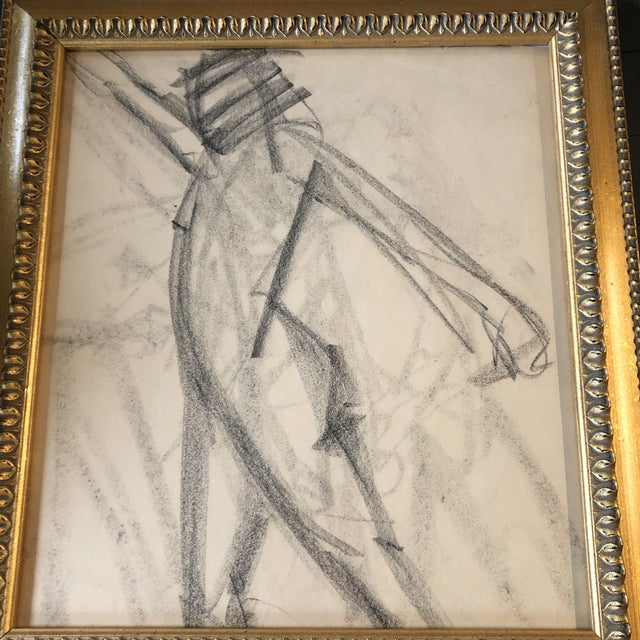 Original charcoal drawing on paper unsigned sketch 16 x 18 overall size with vintage frame is 20 x 22