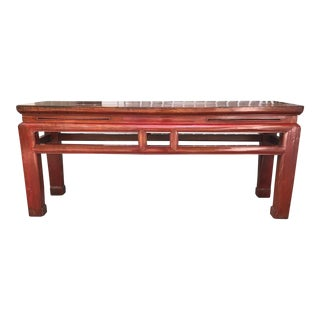 Early 20th Century Asian Red Lacquer Bench For Sale