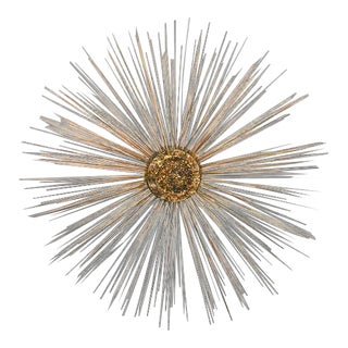 Vintage Brass Sunburst Wall Sculpture Curtis Jere For Sale