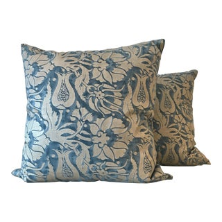 Blue & Silver Fortuny Melagrana Pillows, Pair For Sale