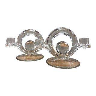 Sculptural Clear Glass Dual Candlestick Holders - a Pair For Sale