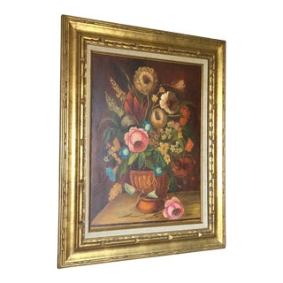 Late 20th Century Botanical Framed Painting For Sale
