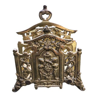 Antique Cast Iron Brass Covered Letter Holder by Bradley & Hubbard For Sale