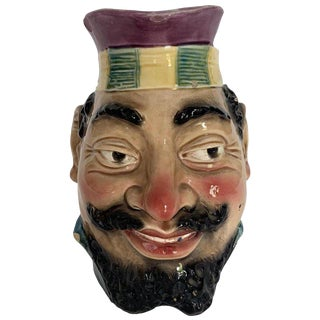 1880s Sarreguemines, Type Majolica Large Character Jug For Sale